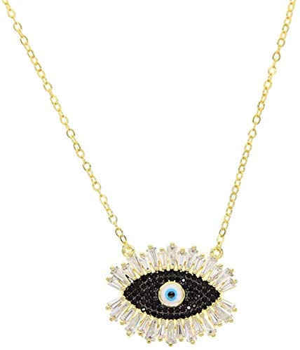 POIUIUYH Co.,ltd Halskette Korean Design Mode Pave Mal Eye Cz Anhänger Bright Glass Magic Wimpern Cute Girl Women Charm Schmuck