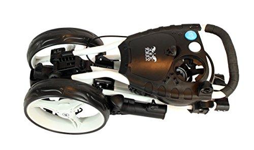 """Golftrolley Yorrx® SL Pro 7 HAMMA """"PLUS"""" Ausstattung, Golfwagen mit innovativem 360° SPIN Vorderrad (weiß) inkl. orig. Yorrx Golfhandtuch & Tees … - 4"""
