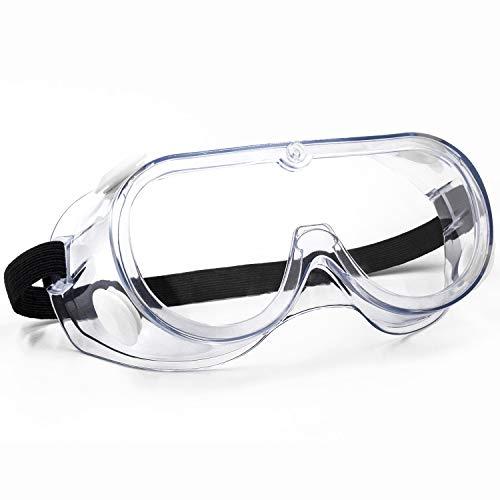 SPOSUNE Schutzbrille Klar Anti Nebel Spritzfest Schlagfest Verstellbarer Arbeitsschutzbriller Entworfen für Brillenträger Geeignet für Baustelle Holzbearbeitung Chemischen Labor ANSI Z87.1