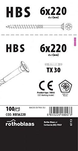 Rothoblaas - Tornillos para madera hbs 6,0x220mm blanco tx30 galvanizados 100 piezas/paquete con broca de avellanado fräsrippe cera