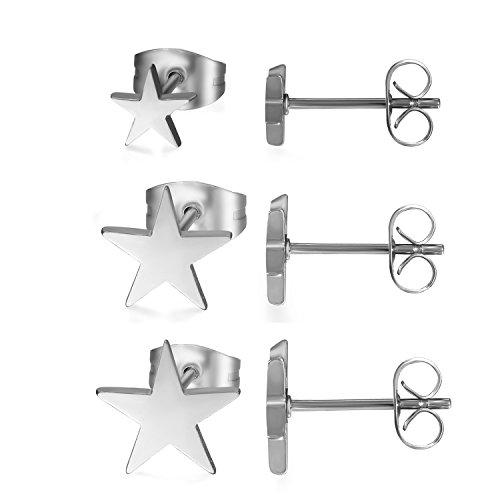 Aroncent Pendientes Hueso Oído de Acero Quirúrgico Inoxidable Hipoalergénico Forma Estrella Juego de Joyería Cuerpo para Hombre Mujer Unisex, Plata – 3Pares(6PCS)
