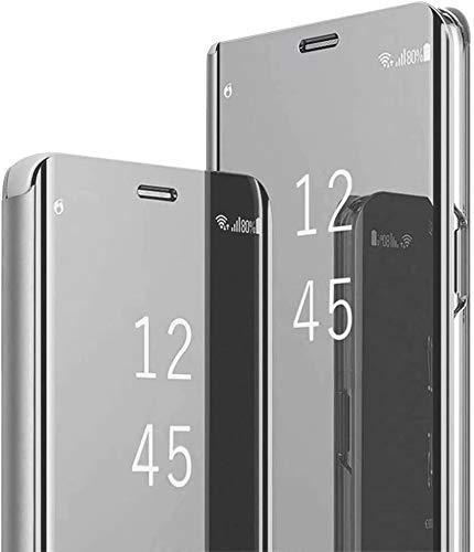 Jeelar para Samsung Galaxy A32 4G Funda, Anti-Shock Anti-Rasguño Mirror Inteligente Case [Soporte Plegable] Ventana de Visión Translúcida Ultra Delgado Funda