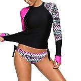 Sidiou Group Costumi da Bagno Tankini Donna Maniche Lunghe Geometrici Asimmetria Stampa Costume da Bagno Surf Bikini Tankini Due Pezzi Costume da Bagno a Triangolo (Rosa Rosso, Small)