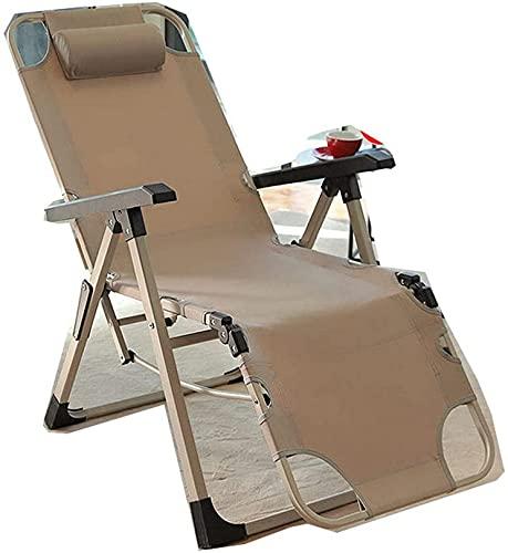 LVJFY Sillón reclinable Plegable, Silla de Ocio de Oficina al Aire Libre, cómodo sillón de Relax Sillón de salón Plegable Sillón de Relax Sillón reclinable de 250 kg con cojinete de Color Caqui