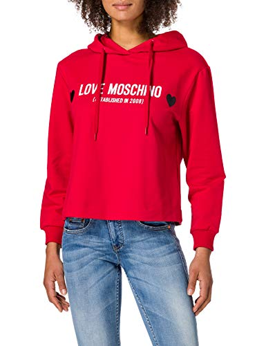 Love Moschino Soft Stretch Cotton Regular-Fit Long-Sleeved Hooded Sweatshirt Maglia di Tuta, Rosso, 46 Donna