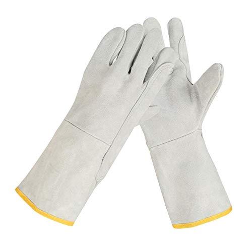 FITYLE Guantes de soldadura de forja de cuero/Mig/palo guantes resistentes al calor/fuego para horno/parrilla/Chimenea/horno/estufa/Olla/soldador - Style1