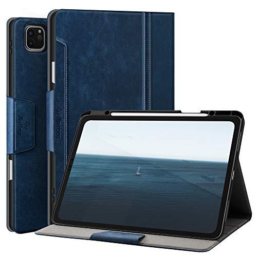 Antbox Hülle für iPad Pro 12.9 Zoll 2021 (5.Generation) / 2020 (4.Gen) / 2018 (3. Gen) mit Stifthalter Apple Pencil Halter Auto Schlaf/Wach Funktion PU Ledertasche Schutzhülle (Blau)