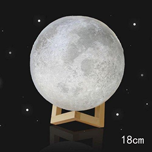 TWIFER 3D USB LED Magische Mond Nacht Licht Mondschein Tisch Schreibtisch Mond Lampe Geschenk (mit Stent) (18 cm)