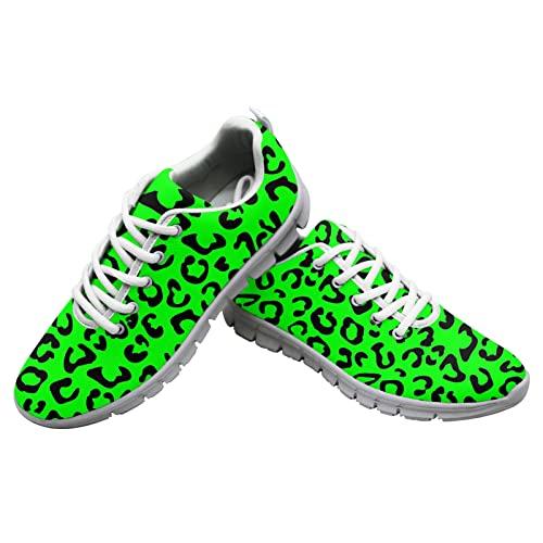 Dolyues Grüne Leopardenmuster Damen Laufschuhe Atmungsaktiv Schnüren Coach Sportliche Turnschuhe Damen 41 EU thumbnail
