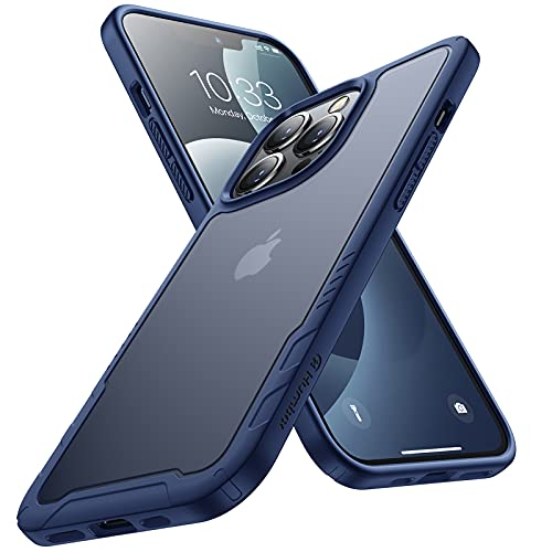 Humixx Kompatibel mit iPhone 13 Pro Hülle [Military Grade Drop Tested] Scrub Matte Transluzent Rückseite mit Silikon Bumper Schutzhülle,Anti-Kratzen,Anti-Fingerabdruck, Handyhülle 6,1 Pro Zoll-Blau