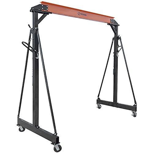 Titan Attachments 2 Ton Adjustable Steel Gantry Crane, Portable Shop Lift Hoist, Frame Only, Rated 4,000 LB