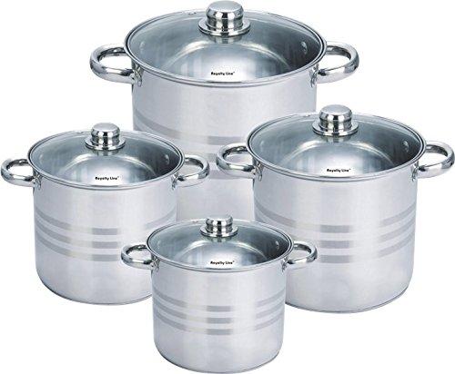 Royalty Line RL-SP8 Set bateria de cocina ollas de acero inoxidable 8 piezas con tapas