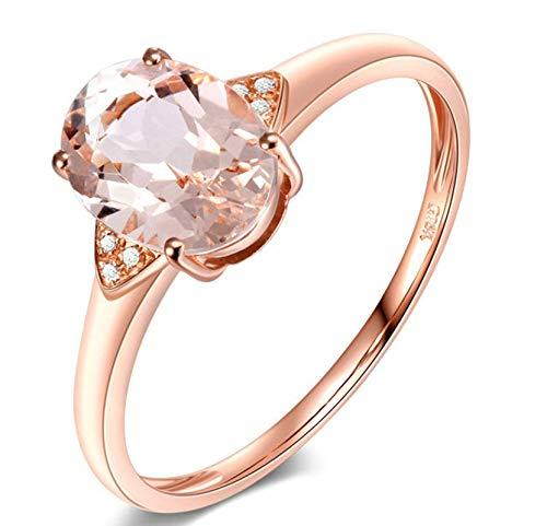 Aeici Anillo Mujer Oro rosa 18k, Anillos Mujer Compromiso Morganita Diamante 1ct, Ovalada, Talla 21