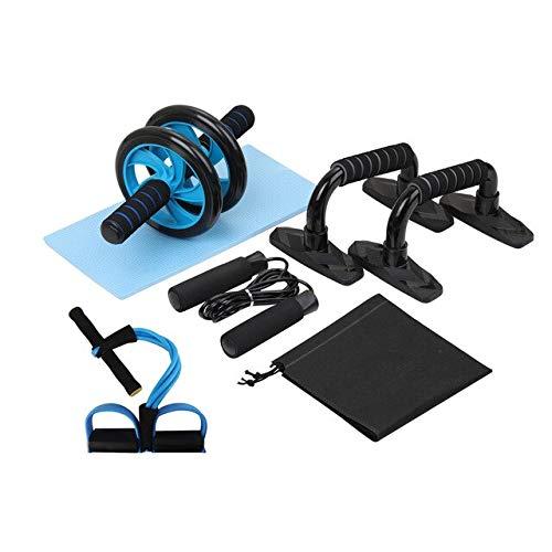 BAJIE Abdominal Wheel 5-en-1 AB Roller Kit Abdominal Wheel Pro con Barra de flexión Cuerda para Saltar Rodillera Banda de Resistencia Gimnasio Ejercicio en casa Equipo de Fitness China Kit 5 en 1