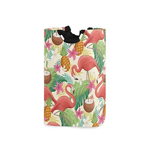 AJINGA Cesta de lavandería para niños con asas, tela plegable, para ropa sucia, para mujer, colorido flamenco, frutas y verano