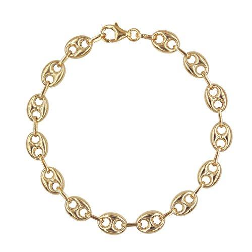 L'Atelier d'Azur - Bracelet Or Jaune Véritable - Maille Grain de Café - Homme ou Femme