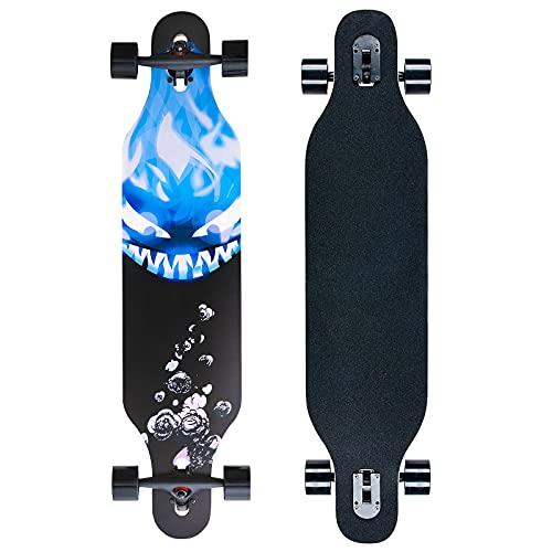 41 Zoll Drop-Through Longboard Komplettboard, Ahornholz Skate Boards für Carving Freestyle und Downhill(Devil)