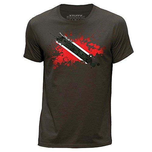 Stuff4 Heren T-Shirt/Trinidad en Tobago Vlag Splat/Ronde hals Casual Korte mouw 100% Organisch Katoen