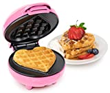Nostalgia MyMini Heart Waffle Maker Valentine's Gift compact size 5 inch non stick surface (Pink)