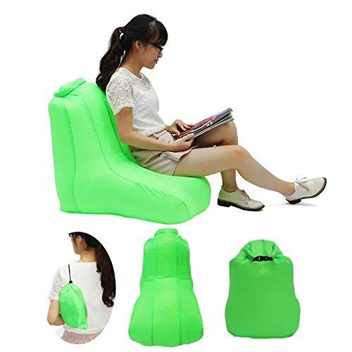 BU-SOH Stühle 190T Polyester 120x60x48cm Luft aufblasbaren Klappstuhl Wasserdicht Sofa Max Last 150kg Multi-Color Optional Klappstühle (Color : Green, Size : One Size)