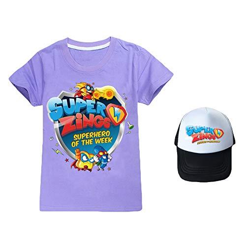 Ukgjhejjh Superzings Maglietta Popolare Patterned Stampa Manica Corta T-Shirt + Classic Movimento Stile Berretto da Baseball Ragazzo e Ragazza (Color : A07, Size : 110)