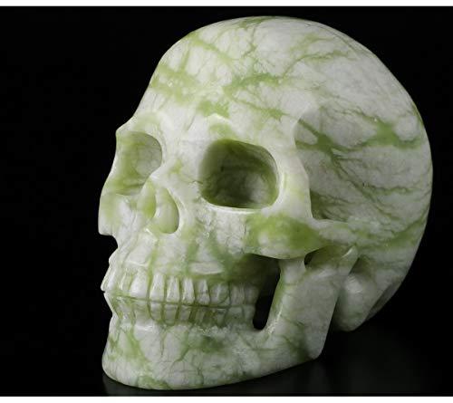 Skullis 5.0' Chinese Picasso Jasper Crystal Skull, Hand Carved Gemstone Fine Art Sculpture, Reiki Healing Stone Statue