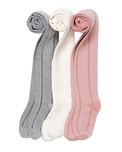 3 Pack Baby and Girl Tights, Cotton Rich Material, Grey, Ivory/White, Pink,...