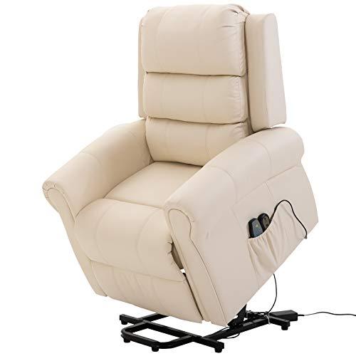 HOMCOM Poltrona Reclinabile Alzapersona in Ecopelle Massaggiante e Riscaldante con Sollevatore Automatico e Telecomando
