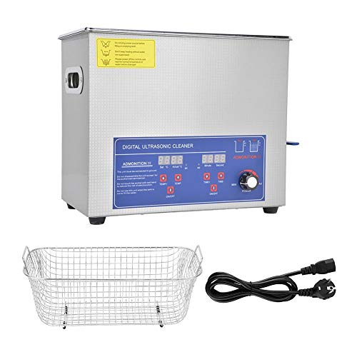 Ultrasonic Cleaner 6L, SUS304 Digital Ultrasonic Cleaner, 40KHz Industria Power Temperatura regolabile Kit di strumenti di pulizia(EU Plug 220V)