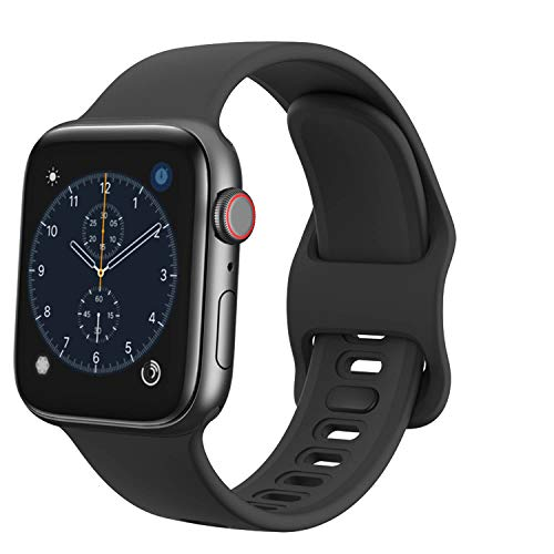 TopPerfekt Strap Compatible with Apple Watch Strap 38mm 40mm, Soft Silicone Replacement Watch Band Strap Wristband for iWatch Series 5 4 3 2 1 (Black, 38/40mm)