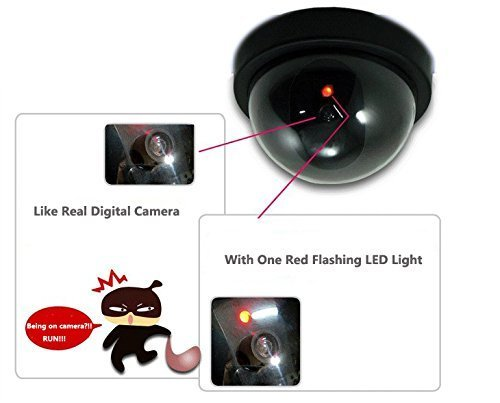WALI Dummy Fake Security CCTV Dome Camera with Flashing Red LED Light with Security Alert Sticker Decals (SD-2), 2 Packs, Black
