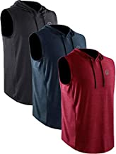 Neleus Men's 3 Pack Running Tank Tops Muscle Workout Athletic Shirts with Hoods,5067,Black (Grey)/Slate Gray/Red,US L,EU XL
