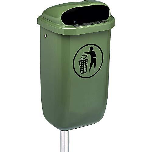 Poubelle d'extérieur - capacité 50 l, l x h x p 430 x 770 x 320 mm - Coloris vert - livrée avec accessoires de fixation pour montage mural ou au sol
