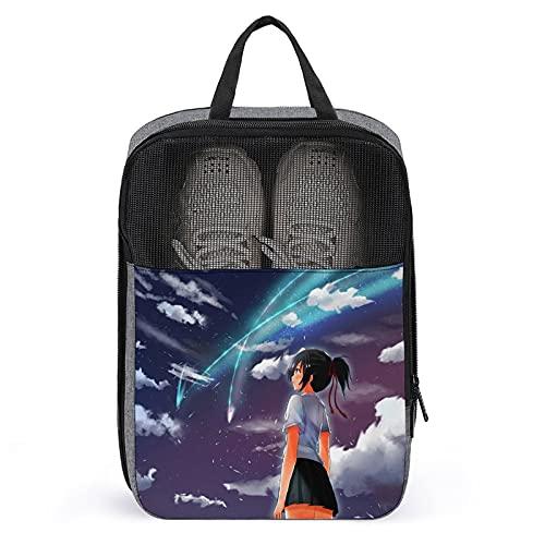 Your Name - Bolsa de zapatos de almacenamiento impermeable portátil con cremallera adecuada para viajes de excursión, entrenamiento de fitness, fuerte y duradero