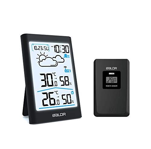 Wetterstation Funk mit Außensensor, Digital Thermometer Hygrometer Innen und Außen Raumthermometer Hydrometer Feuchtigkeit mit Wettervorhersage, Uhrzeitanzeige, Wecker und Nachtlicht (Schwarz-b341)