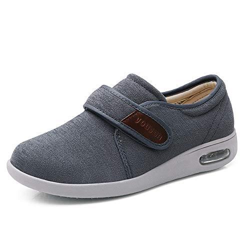 Zapatos de las mujeres de los hombres de la diabetes, cálido zapatos Edema ajustables a pie del amortiguador de aire zapatillas Calzado de edad avanzada pies hinchados fascitis plantar,Gris,44