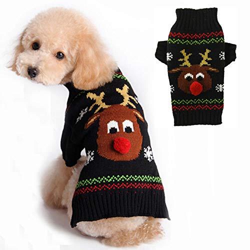 PETCARE Hundepullover Weihnachten Hund Rollkragenpullover Weihnachten Muster Strickwaren warme Haustier Pullover für Hundewelpen Party Puppy Geschenk für Hund