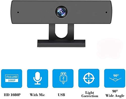 Vbva-s Webcam con micrófonos, 1080P HD Streaming Webcam Cámara USB para PC y portátil, red de transmisión en vivo, videoconferencias en línea