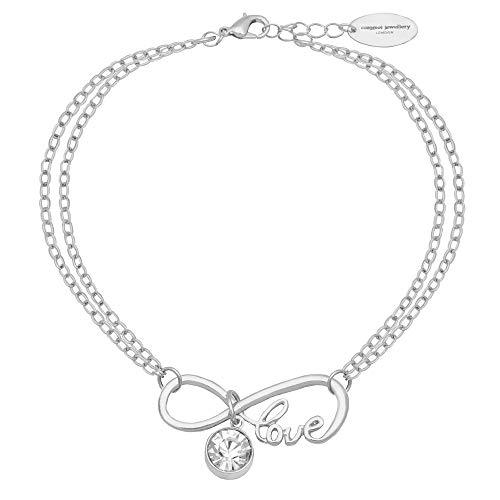 Caramel Jewellery London per L'Amore di Sparkle Infinity Friendship Bracciale Placcato Argento. Bracciale Charm Effetto Cristallo per Donna 20cm