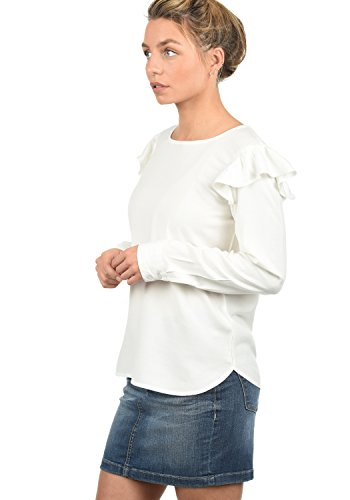 ONLY Smilja Damen Lange Bluse Hemdbluse Langarm Mit Rundhals Und Optional Mit Nadelstreifen Regular Fit, Größe:36, Farbe:Cloud Dancer
