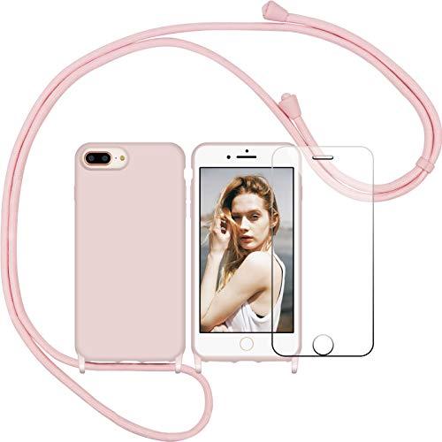Nupcknn Funda Silicona Líquida con Cuerda para iPhone 7 Plus/iPhone 8 Plus, Carcasa Suave Silicona Case con Correa Colgante Ajustable Collar Correa de Cuello Cadena Cordón(Oro Rosa)