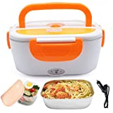 VECH 12V FoodHeater Car-Use Charging Adapter Electric Lunch Box CarWarmer FoodCarHeater PortableWarmerFood 1.5L PortableFoodWarmerForCar With Stainless Steel Removable Container(Orange)