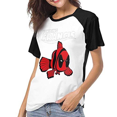 MeiShop Custom Raglan Short Sleeve T Shirts Tee Womens Raglan Baseball T-Shirt Finding-Francis Printed Crew Neck Casual Tee Tops Kurze T-Shirts für Frauen