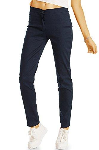 bestyledberlin Damen Chino, Normal Waist Slim Fit Hose, Basic Stretch Stoffhose j55f 36/S Marine