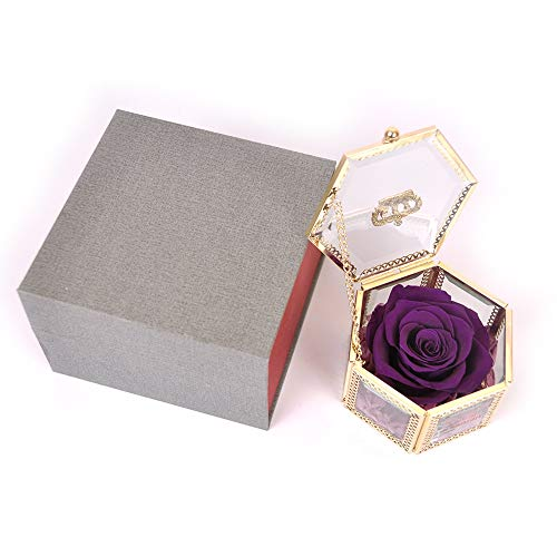 SANRAN Eternal Flower | Preserved Rose, Real Forever Rose in Delicate Metal Box, for Mom, Girlfriend, Her, Mother's Day, Valentine's Day, Thanksgiving Day, Christmas, Anniversary (Dark Violet)