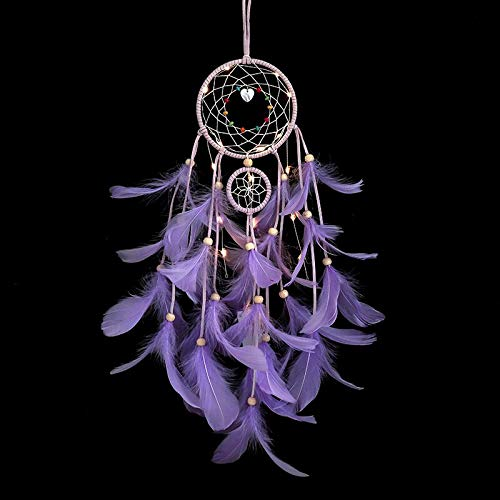 Emisscol Dream Catcher with LED Lights Handmade Feather Dreamcatcher Wall Hanging Ornament Home Decor for Kids Girls Home Bedroom Decoration (Purple)