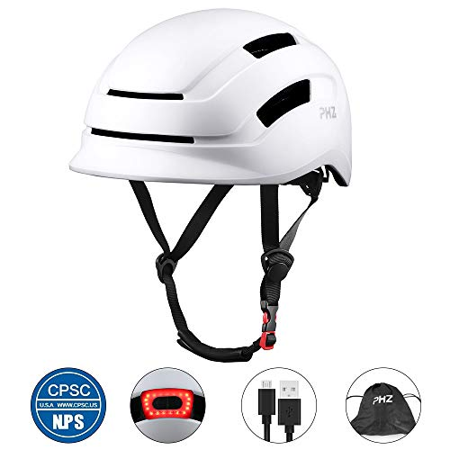 PHZ. Adult Bike Helmet, Cycling Helmet CPSC and CE Certified with Rear Light for Urban Commuter Adjustable Size for Adult Men/Women (White, Medium)