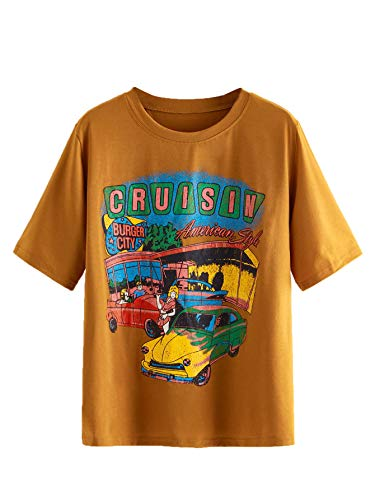 SheIn Women's Graphic Vintage Car T Shirt Letter Print Casual Tee Short Sleeve Round Neck Top Small Brown