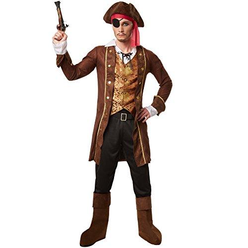 dressforfun Disfraz para hombre rey de los piratas   Abrigo con un chaleco y una camisa cosidas   Pantalón largo con cintura de goma   Incl. gorro, parche, cinturón y botines (L   No. 301786)