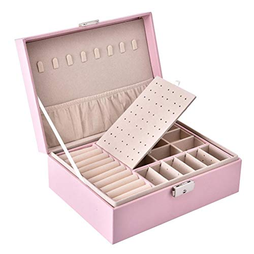 Crounuas Caixa de joias de couro de camada dupla feminina organizador de joias multifuncional colar brinco, anel de armazenamento